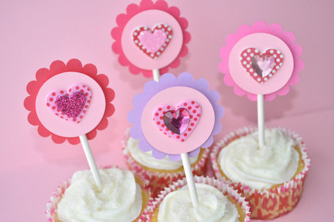 12,Heart,Cupcake,Toppers,-,Valentine's,Day,Party,,Girls,Birthday,Toppers,,Pink,,Red,and,Purple,cupcake toppers, party decorations, cake decorations, 1st birthday cupcake toppers, personalized cupcake toppers