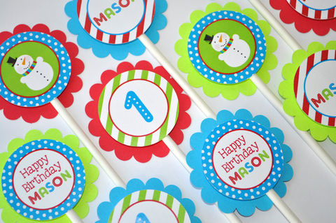 12,Snowman,Cupcake,Toppers,-,Winter,Onederland,Birthday,Party,Decorations,Christmas,cupcake toppers, party decorations, cake decorations, 1st birthday cupcake toppers, personalized cupcake toppers