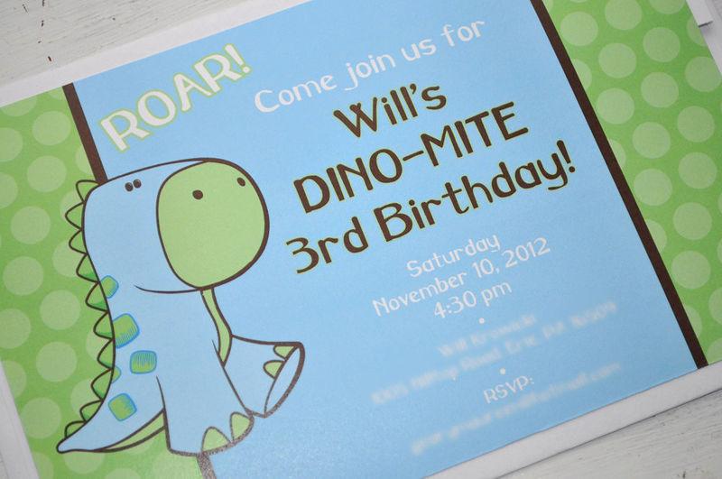 Dinosaur Invitations Boys Birthday or Baby Shower Brown – Blue Birthday Invitations
