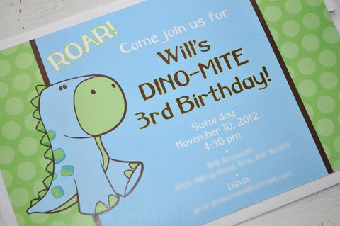 Dinosaur,Invitations,-,Boy's,Birthday,or,Baby,Shower,Brown,,Green,and,Blue,Set,of,12,1st birthday invitations, party invite, girls 1st birthday invites, birthday invitations, baby shower invites, boys 1st birthday invites, thank you cards