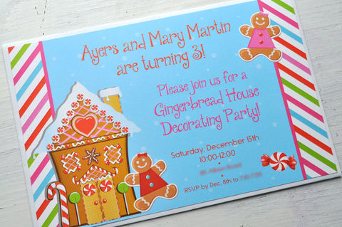 Gingerbread,Birthday,Party,Invitations,-,Holiday,,Winter,Decorations,Christmas,Set,of,12,1st birthday invitations, party invite, girls 1st birthday invites, birthday invitations, baby shower invites, boys 1st birthday invites, thank you cards