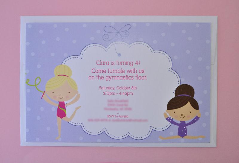 Gymnastics Birthday Party Invitations Gymnastics Tumbling – Girl Birthday Party Invitation