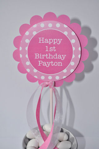 1st,Birthday,Cake,Topper,-,Polkadots,Pink,and,White,Personalized,with,Name,1st birthday cake topper, happy birthday cake topper, cake topper, smash cake topper, baby shower cake topper