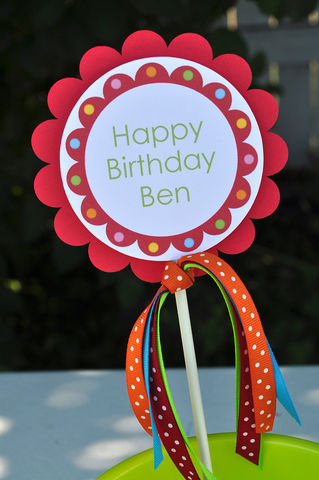 Birthday,Cake,Topper,or,Centerpiece,Decoration,1st,-,Red,Bubblegum,Theme,1st birthday cake topper, happy birthday cake topper, cake topper, smash cake topper, baby shower cake topper