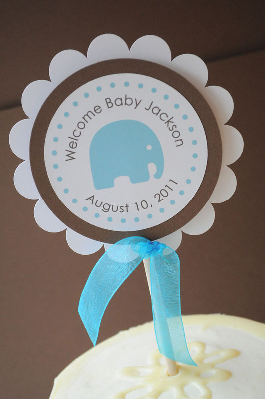 Boy Baby Shower Cake Topper Elephant Theme Personalized With Baby 39 S.  Elephant ...