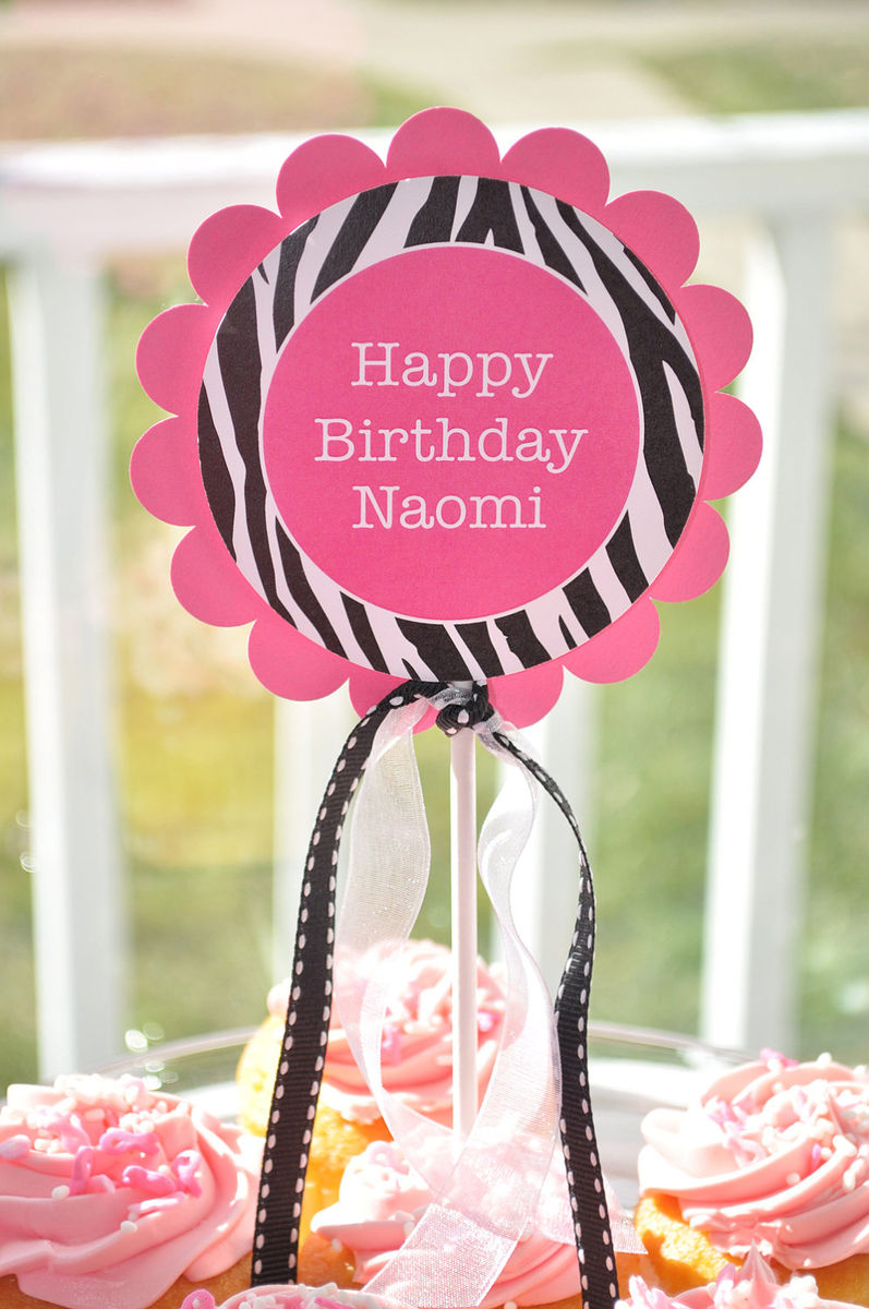 1st birthday party zebra stripe pink black and white party decorations ...