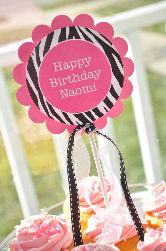 Cake Topper - Girls 1st Birthday Party - Zebra Stripe - Pink, Black ...