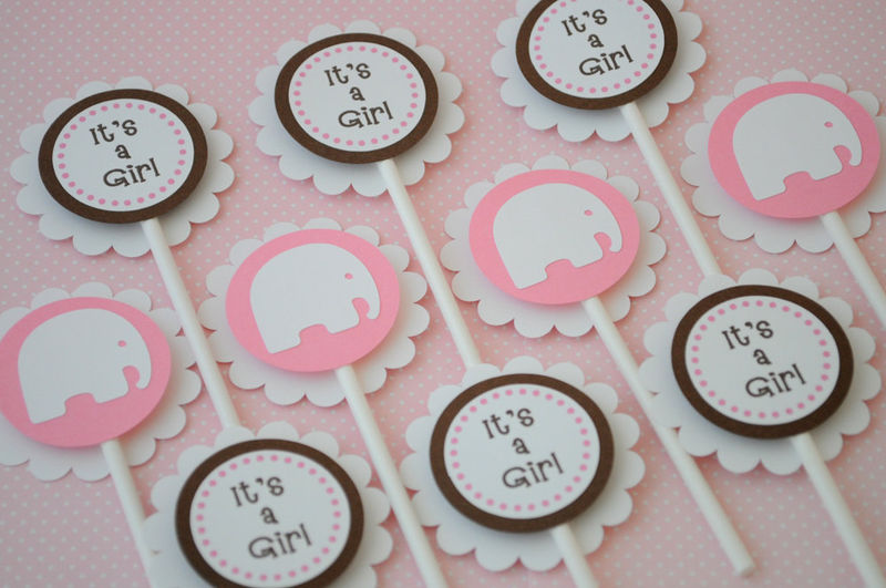 Girl Baby Shower Cake Topper   Elephant Theme   Personalized Baby Shower  Decorations   Product Images