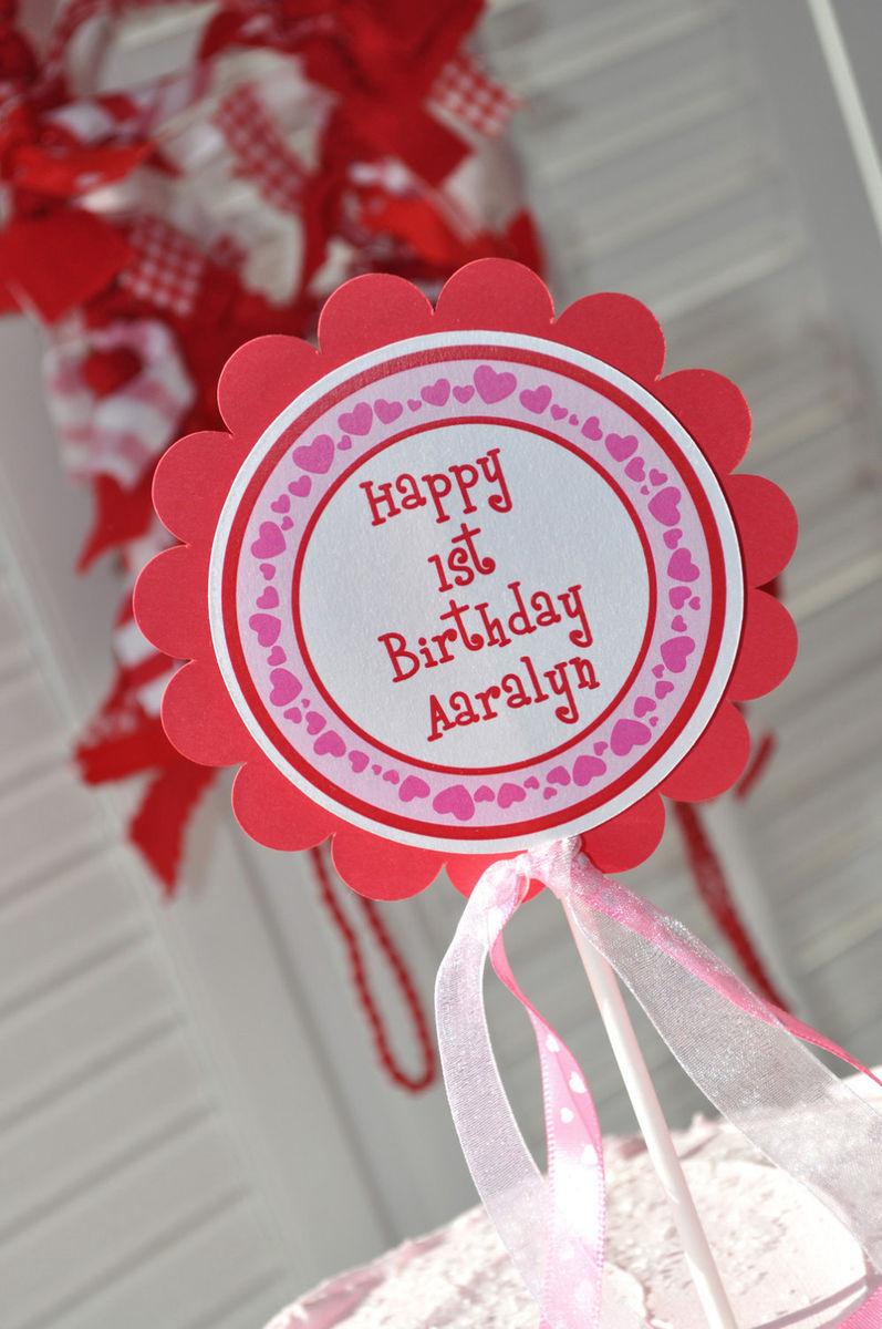 February Birthday Cakes Heart Cake Topper Valentines Day Birthday Party February
