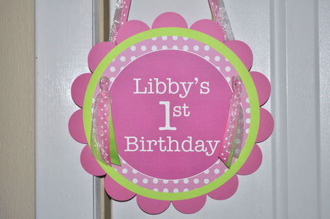 Birthday,Party,Door,Sign,-,Pink,,Lime,Green,and,White,Polkadots,1st birthday, personalized, happy birthday, party decorations, door sign, party sign, welcome sign
