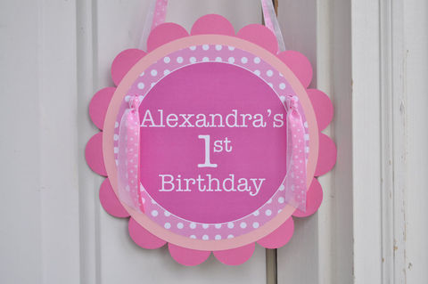 1st,Birthday,Party,Door,Sign,-,Polkadots,Pink,and,White,Personalized,with,Name,1st birthday, personalized, happy birthday, party decorations, door sign, party sign, welcome sign