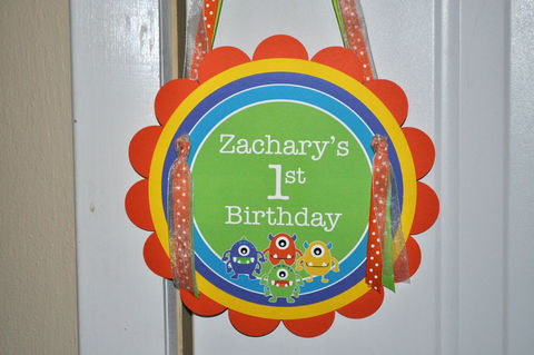 Boys,Birthday,Party,Door,Sign,-,Monsters,Aliens,Personalized,1st,Decorations,1st birthday, personalized, happy birthday, party decorations, door sign, party sign, welcome sign