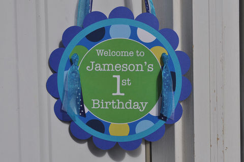 Boys,1st,Birthday,Party,Door,Sign,-,Personalized,Decorations,Blue,Polkadots,1st birthday, personalized, happy birthday, party decorations, door sign, party sign, welcome sign