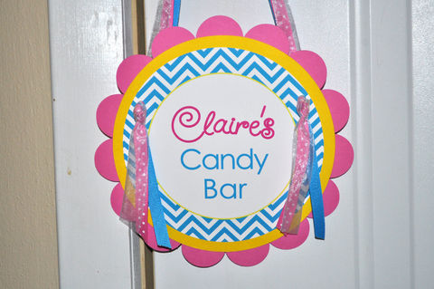 Girls,Birthday,Door,Sign,-,Chevron,Decorations,with,Polkadots,Teal,,Pink,,Yellow,1st birthday, personalized, happy birthday, party decorations, door sign, party sign, welcome sign