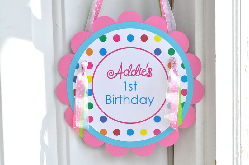 Birthday Party Door Sign - Colorful Polkadots - Birthday Party Decorations - product images  of