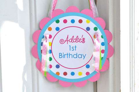 Birthday,Party,Door,Sign,-,Colorful,Polkadots,Decorations,1st birthday, personalized, happy birthday, party decorations, door sign, party sign, welcome sign