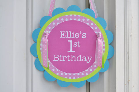 1st,Birthday,Party,Door,Sign,-,Polkadots,Pink,,Lime,Green,,Teal,and,Purple,1st birthday, personalized, happy birthday, party decorations, door sign, party sign, welcome sign