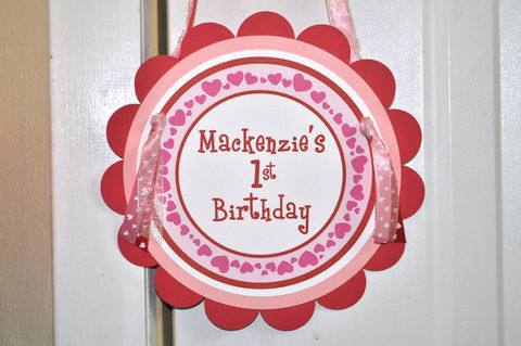 Valentine,Birthday,Door,Sign,-,Valentine's,Day,Party,February,Heart,Decorations,1st birthday, personalized, happy birthday, party decorations, door sign, party sign, welcome sign