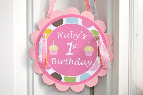 Happy,1st,Birthday,Door,Sign,Personalized,-,Cupcakes,and,Polkadots,1st birthday, personalized, happy birthday, party decorations, door sign, party sign, welcome sign