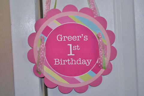 Girls,Birthday,Party,Door,Sign,-,Pink,,Blue,,Green,and,Yellow,Stripe,1st birthday, personalized, happy birthday, party decorations, door sign, party sign, welcome sign