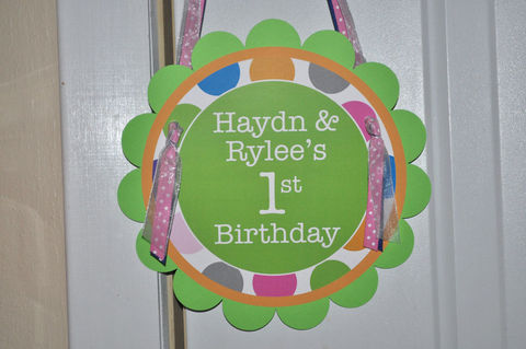 Birthday,Party,Door,Sign,-,Colorful,Polkadots,Blue,,Pink,,Orange,and,Green,Decorations,1st birthday, personalized, happy birthday, party decorations, door sign, party sign, welcome sign