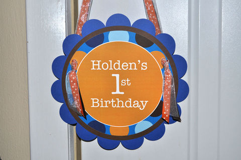 Boys,1st,Birthday,Door,Sign,-,Blue,,Orange,and,Brown,Polkadots,Personalized,Party,Decorations,1st birthday, personalized, happy birthday, party decorations, door sign, party sign, welcome sign
