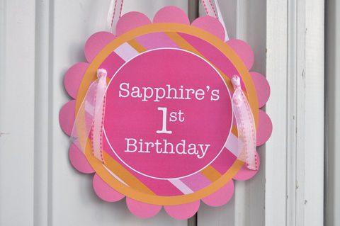 Birthday,Party,Door,Sign,-,Pink,and,Orange,Stripe,1st birthday, personalized, happy birthday, party decorations, door sign, party sign, welcome sign