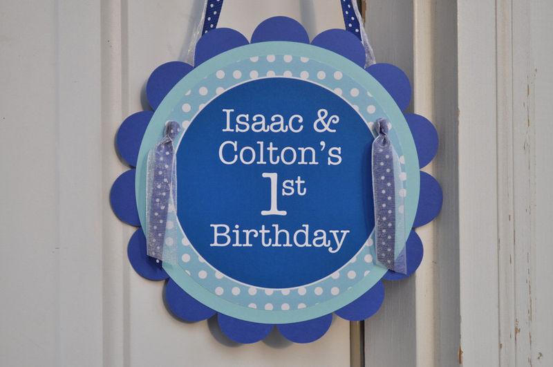 Happy 1st Birthday Party Door Sign Dark Blue and Light Blue
