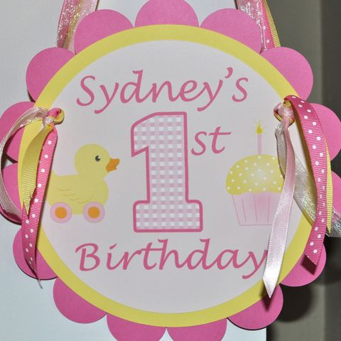 1st,Birthday,Party,Door,Sign,-,Cupcake/Rubber,Ducky,Theme,Pink,and,Yellow,Personalized,1st birthday, personalized, happy birthday, party decorations, door sign, party sign, welcome sign