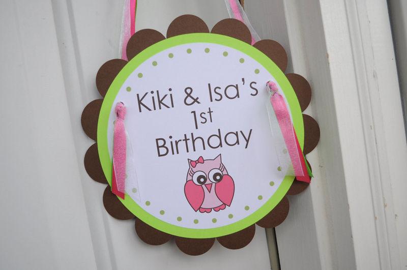 Girls 1st Birthday Party Door Sign Girl Owl Theme Woodland