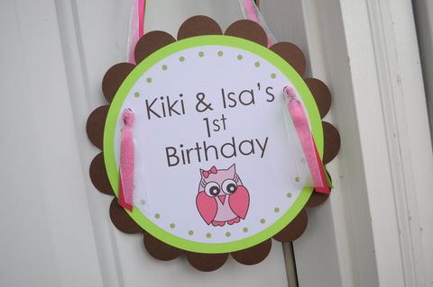 Girls,1st,Birthday,Party,Door,Sign,-,Girl,Owl,Theme,Woodland,Decorations,1st birthday, personalized, happy birthday, party decorations, door sign, party sign, welcome sign