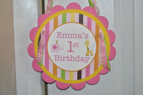 Girl's,1st,Birthday,Door,Sign,-,Elephant,and,Giraffe,Stripes,1st birthday, personalized, happy birthday, party decorations, door sign, party sign, welcome sign