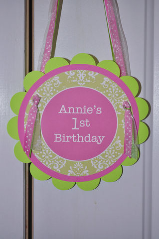 Door,Sign,-,Birthdays,or,Baby,Showers,Pink,and,Green,1st birthday, personalized, happy birthday, party decorations, door sign, party sign, welcome sign