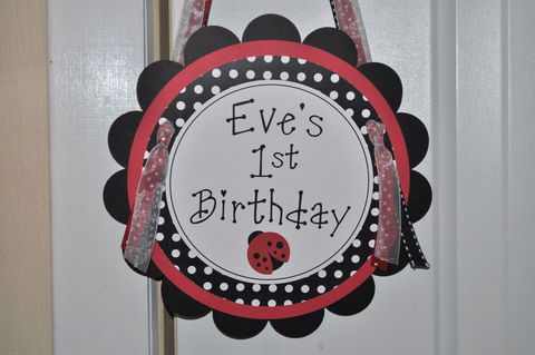 Baby,Shower,or,Birthday,Party,Door,Sign,-,Ladybug,Theme,Personalized,Decorations,1st birthday, personalized, happy birthday, party decorations, door sign, party sign, welcome sign