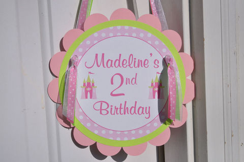 Girl's,Princess,Birthday,Party,Door,Sign,-,Dark,Pink,,Light,Pink,and,Lime,Green,1st birthday, personalized, happy birthday, party decorations, door sign, party sign, welcome sign