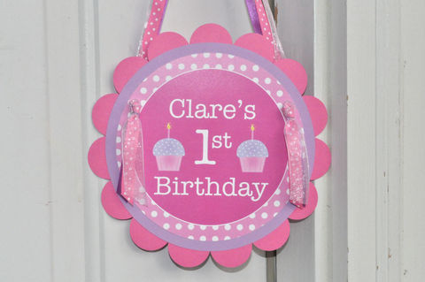 Girl's,1st,Birthday,Party,Door,Sign,-,Polkadots,Pink,Lavender,with,Cupcakes,1st birthday, personalized, happy birthday, party decorations, door sign, party sign, welcome sign