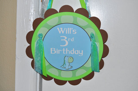 Dinosaur,Birthday,Party,Door,Sign,-,Boys,Decorations,Brown,,Green,and,Blue,1st birthday, personalized, happy birthday, party decorations, door sign, party sign, welcome sign