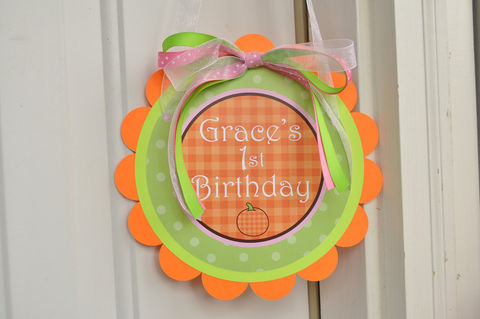 Pumpkin,Birthday,Door,Sign,or,Baby,Shower,-,Halloween,Party,Decorations,1st birthday, personalized, happy birthday, party decorations, door sign, party sign, welcome sign