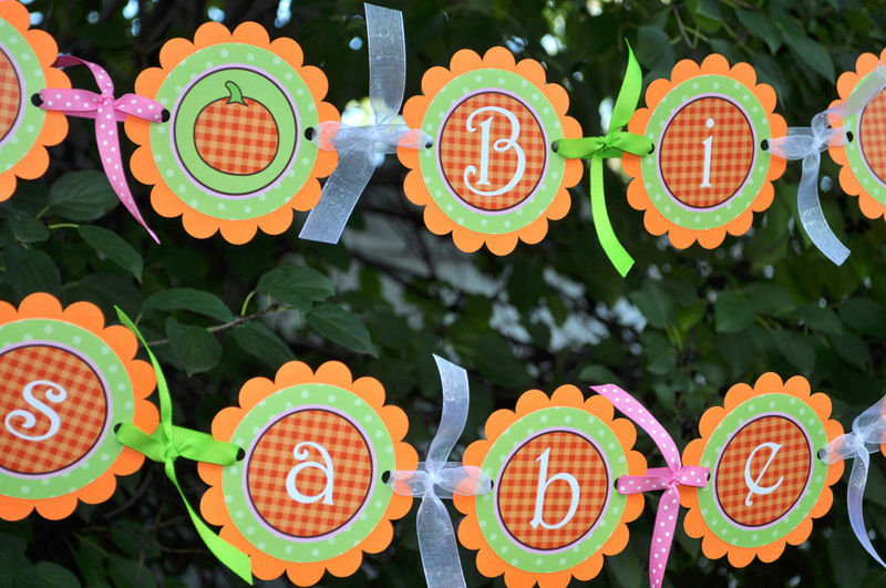 pumpkin birthday door sign or baby shower door sign halloween party decorations product images - Halloween Birthday Party Decorations