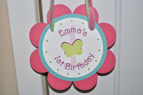 Birthday,Party,Door,Sign,-,Flowers,and,Butterflies,Personalized,1st birthday, personalized, happy birthday, party decorations, door sign, party sign, welcome sign