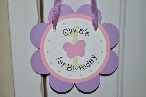 Girls,1st,Birthday,Door,Sign,-,Flowers,and,Butterflies,Personalized,1st birthday, personalized, happy birthday, party decorations, door sign, party sign, welcome sign