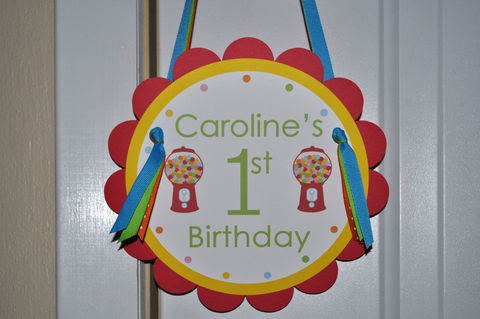 Door,Sign,1st,Birthday,-,Red,Bubblegum,Theme,,Boy,or,Girl,1st birthday, personalized, happy birthday, party decorations, door sign, party sign, welcome sign