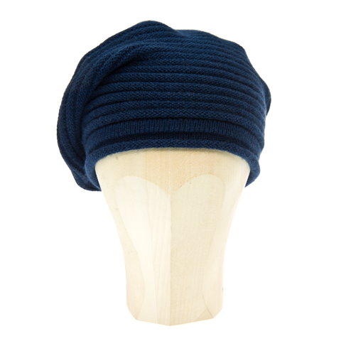 Horizontal,Knit,Beanie,-,MIDNIGHT,BLUE,Notturno,Horizontal Knit Beanie Cashmere Kaschmir Midnight blue Nachtblau Gestrickt Haube Mütze