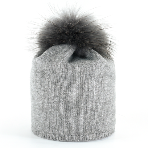 Star,Beanie,with,Fur,Pompon,-,Steel,Grey,Star Beanie with Fur Pompon - Steel Grey cashmere beanie jennigraf collection