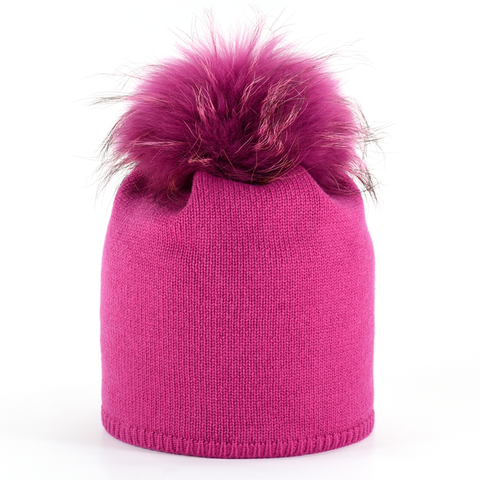 Star,Beanie,with,Fur,Pompon,-,Fuchsia