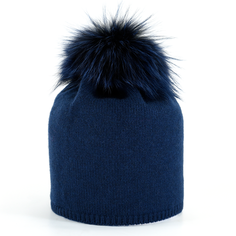 Star,Beanie,with,Fur,Pompon,-,Midnight,Blue