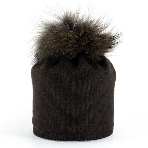 Star,Beanie,with,Fur,Pompon,-,Marrone