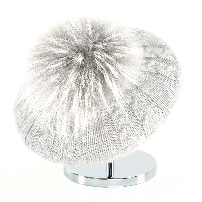 Cable Beret with Fur Puff - Silver - product image