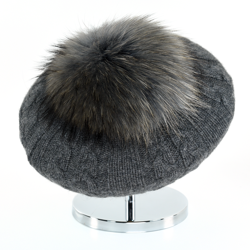 Cable Beret with Fur Puff - Anthracite - product image