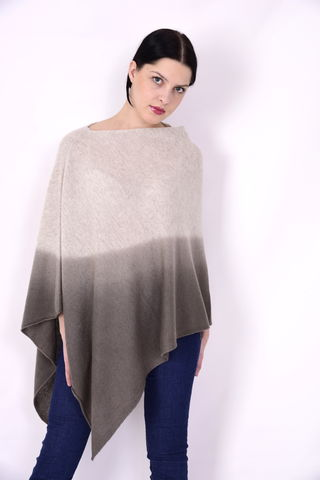 Dip,Dyed,Poncho,Beige,Brown